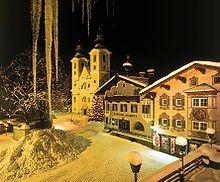 St Johann in Tirol Austria - Hauptplatz Winter. Great ski destination.