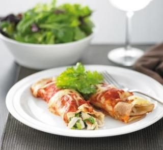 Chicken enchiladas | Healthy Food Guide.  Could take a chicken prep for lunch for work, warm it up, add cheese and tortilla)