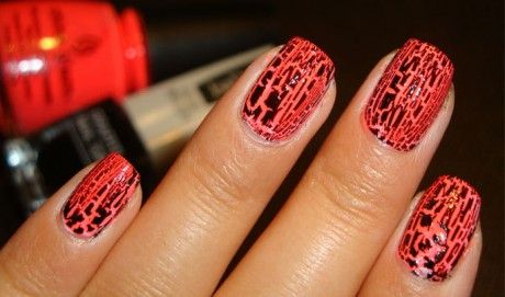crackle nail polishCrackle Nails, Nails Art, Nails Colors, Summer Style, Black Nails Design, Nails Polish, Celebrities Plastic Surgery, Bright Colors, Red Black