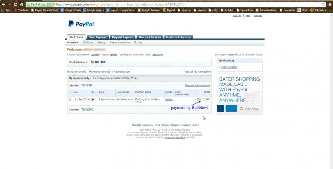 My 1st Payment By Bubblews...