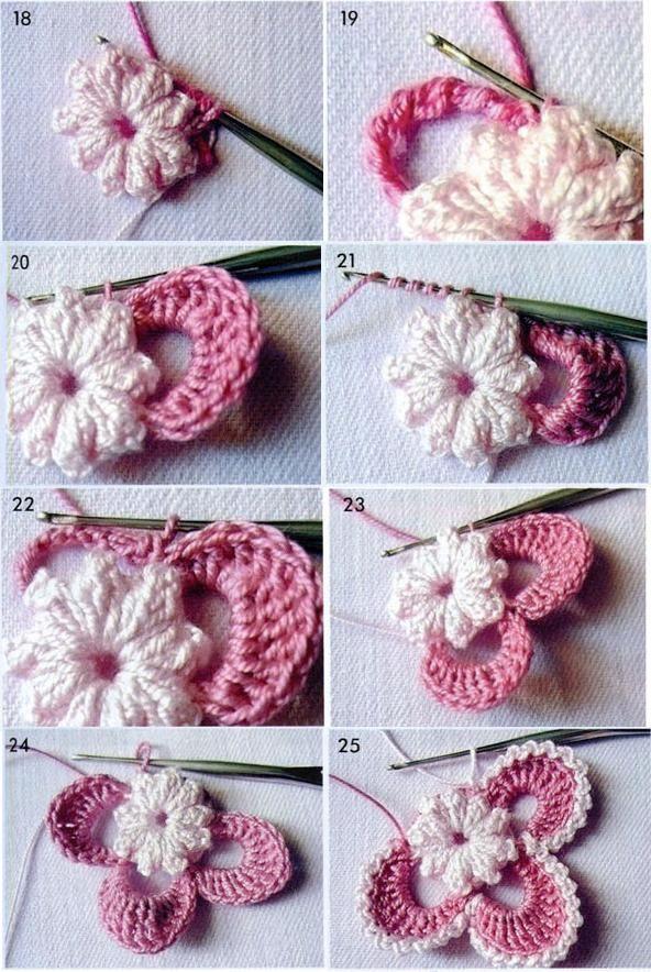 Irish crochet motif step by step