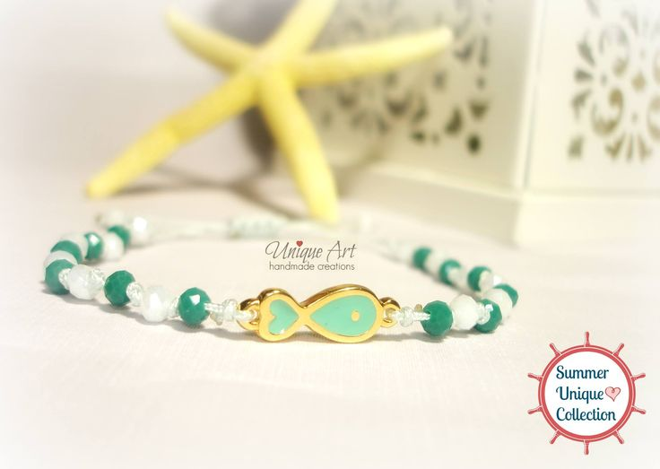 New #petrol & #white #summer_bracelet by #UniqueArt  https://www.facebook.com/UniqueArtDk/photos_stream?ref=tn_tnmn&tab=photos_stream