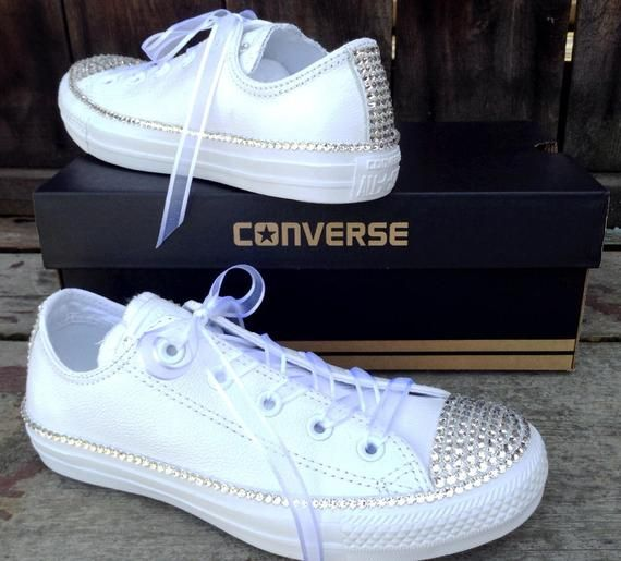 f91b6086cc998 Leather White Wedding Converse Low Top Full Bling Crystal Bridal ...