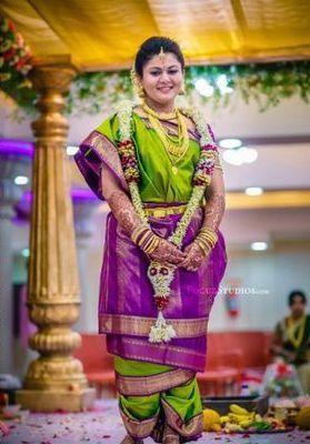 Beautiful Iyer Bride in Lime Green and Purple Nine Yard Madisar Saree