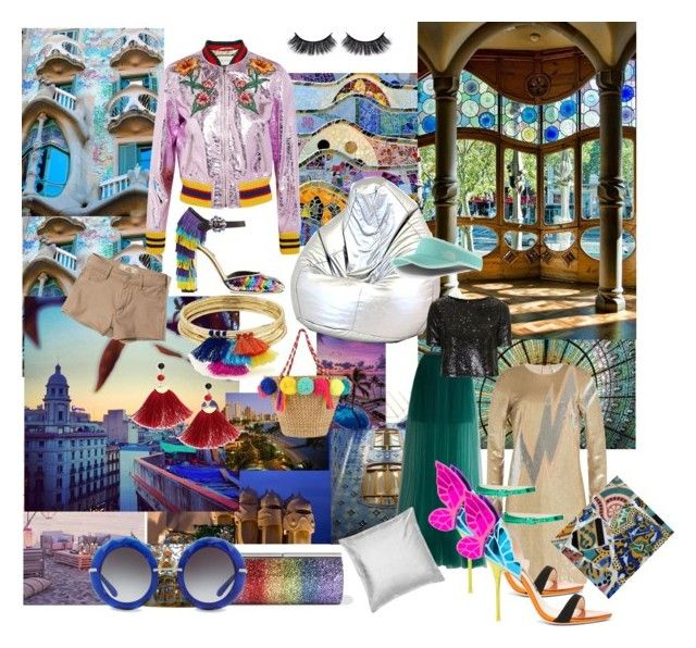#barcelona #beautifultravel #gaudistyle #mosaic #colours #glitter #dazzle #shine #metallics by cielshopinteriors on Polyvore featuring polyvore, fashion, style, Emilio Pucci, Topshop, Gucci, Delpozo, Hollister Co., Sophia Webster, Dolce&Gabbana, Jimmy Choo, Aqua, Shashi, The North Face, Ciel, We Are Massiv., Gaudì and clothing