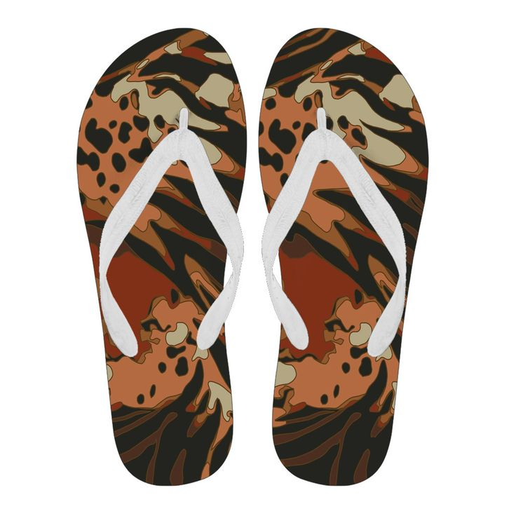 Jungle Animal Print Flip Flops