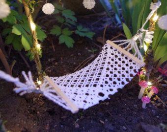 Bohemian Fairy Garden Hammock Crocheted Fabric Miniature Fairy Garden Faery…