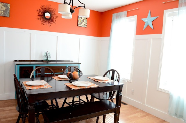 Orange and teal dining room decorating pinterest for Dining room ideas teal