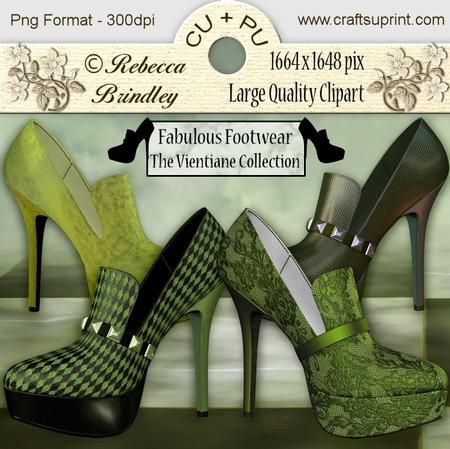 Fabulous Footwear The Vientiane Collection on Craftsuprint designed by Rebecca Brindley - Feed your shoe addiction with these gorgeous heels, and at 1664 x 1648 pixels each they are big enough to fit on any of your wonderful designs. Commercial use ok