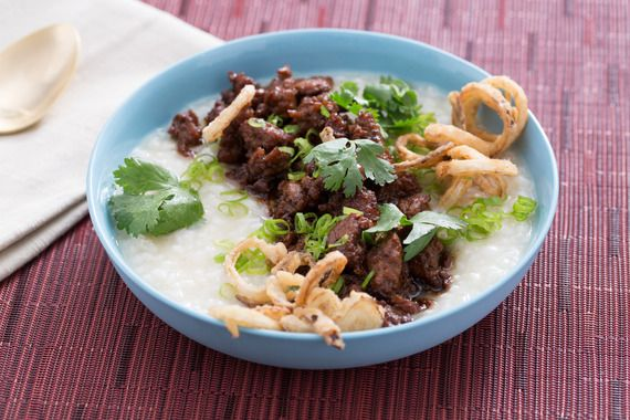 Congee & Caramelized Pork  with Crispy Shallots and Black Garlic. Visit http://www.blueapron.com/ to receive the ingredients.