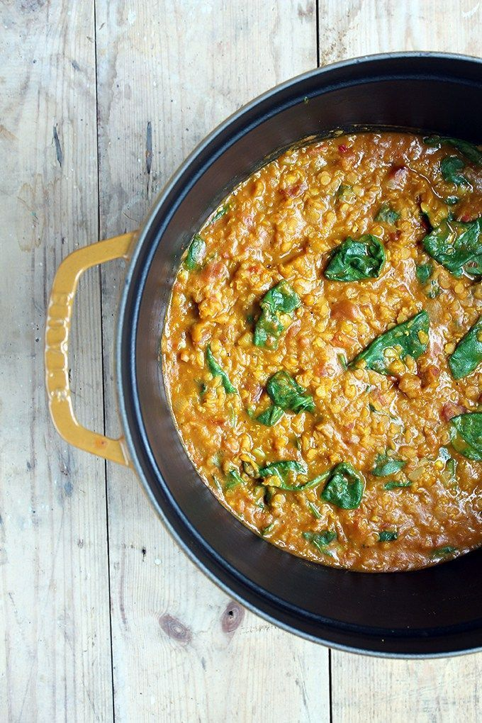 Red Lentil Dhal - This quick and flavourful red lentil dahl is a great vegan midweek meal or alternative homemade curry. | Veggie Desserts Blog