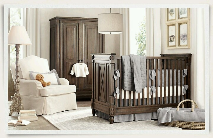 Nursery light walls/chair with dark wood lovely color scheme @Paige Glover