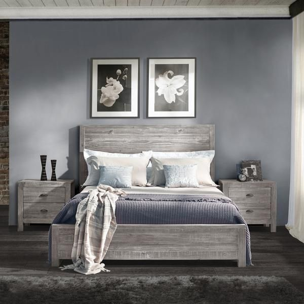 queen size solid wood bed rustic grey grain wood furniture 1
