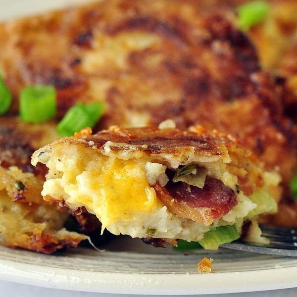 Bacon Cheddar and Onion Potato Cakes made from leftover mashed ...