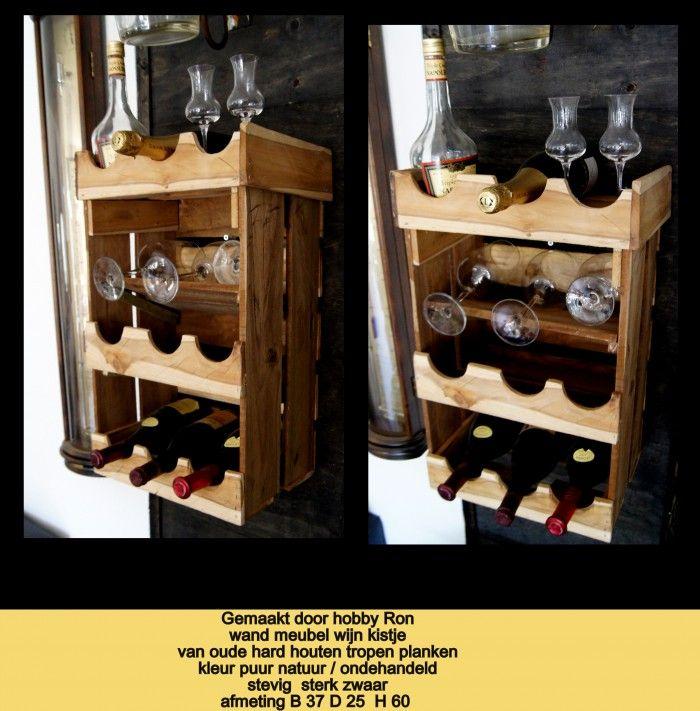 leuk  kunst zinnig idee wijn kistje voor aan de muur van oude hard houten tropen planken hand gemaakt natuurlijke look