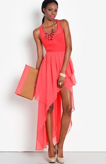 Women's #Fashion #Clothing Stylish Coral Pink Vibrant High Low Spring Summer Dress