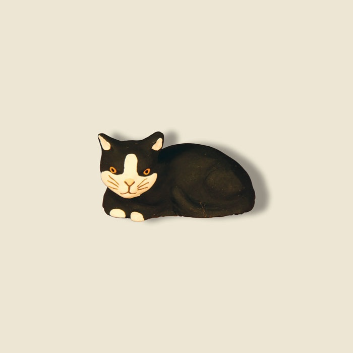 Wish: Cat lying down (black); santons fouque collection 9 cm