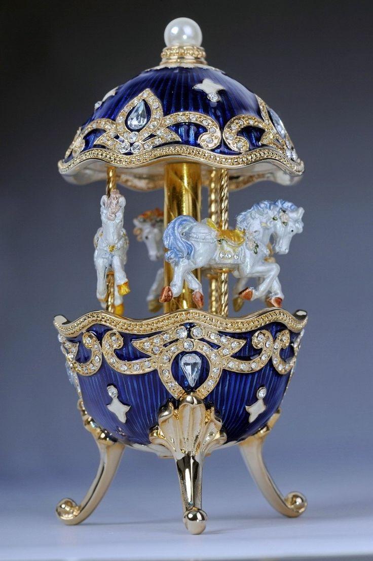 Faberge Easter Egg with Horse Carousel Trinket Box by Keren Kopal music box