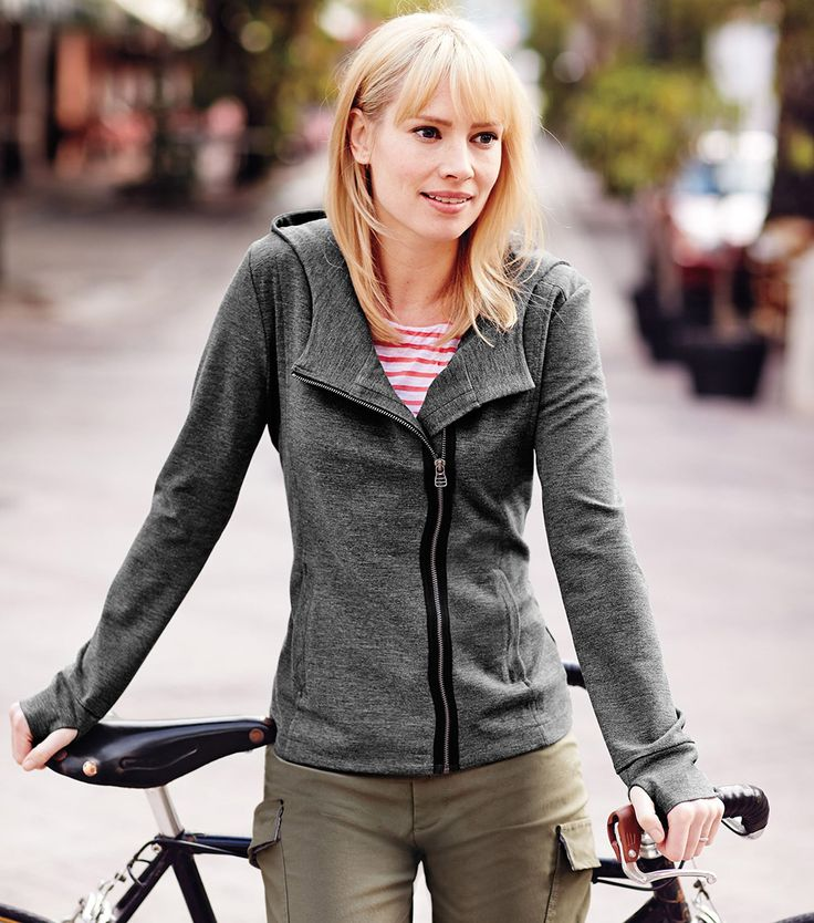 Asymmetrical Jacket. Rayon/nylon/spandex double-knit.  Grey color is heathered. Other colors available. 2 zipper pockets.  Great for travel - dries overnight.  A WINNER