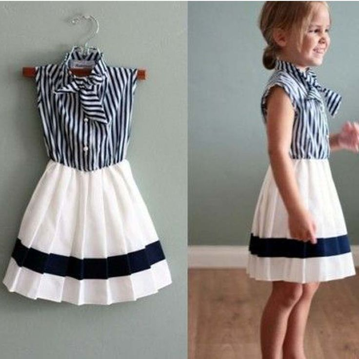 Cheap Dresses, Buy Directly from China Suppliers:            Product Name:2015 Summer Girls striped Chiffon One-Piece Dress With tie Collar Children Colthes For Kids Bab