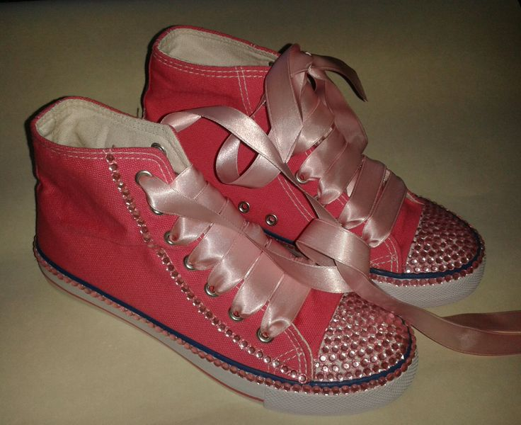 Pink bling for a girly girl. custom shoes can be done in any size, colour or style.