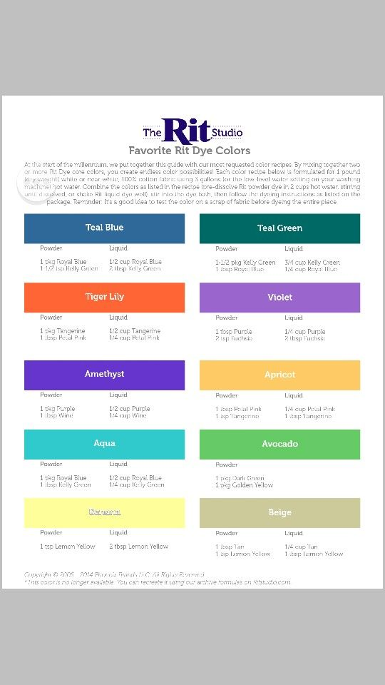 Nice RIT Chart For Making Custom Dye Colors