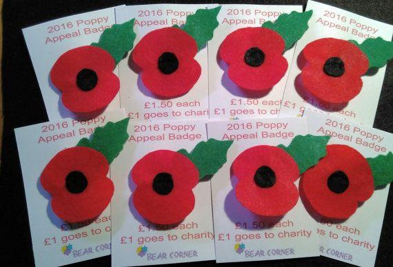 Felt Poppy Badge for The British Legion by BearCornerShop on Etsy