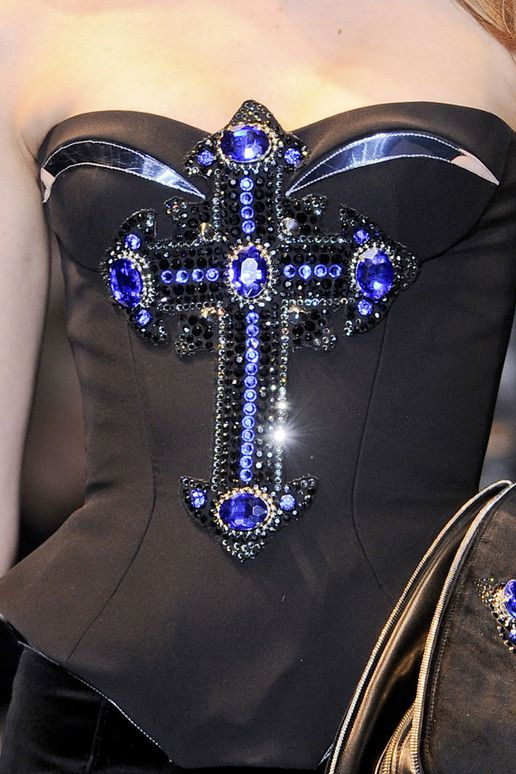 VERSACE-FALL-2012Fashion, Style, Halloween Costumes, Blue, Bustiers Dresses, Black Bustiers, Corsets Lac, Versace Fall 2012 Rtw Details, Crosses