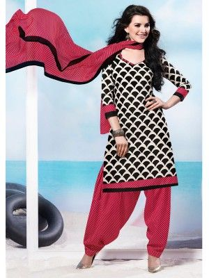 Off White Pink Cotton Pretty Patiala Salwar Kameez                parisworld.in