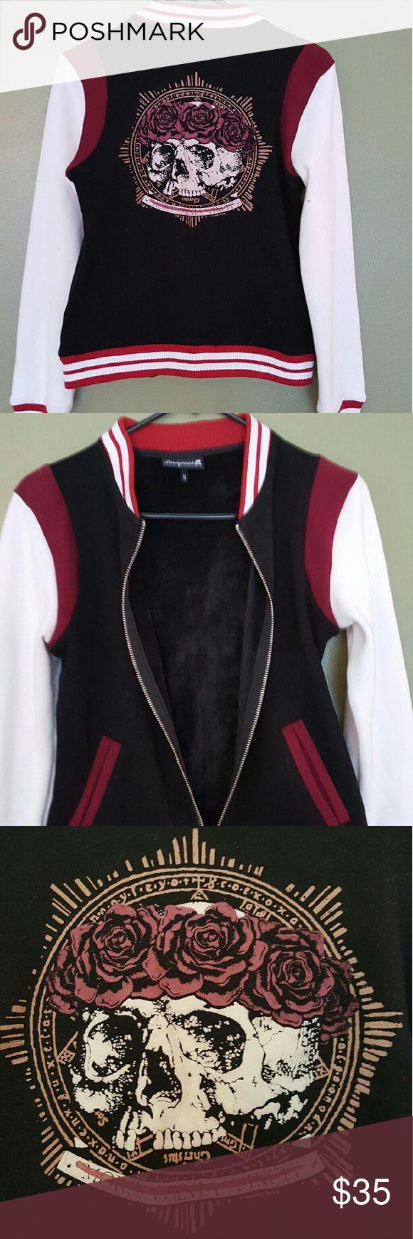 "Sourpuss varsity letterman jacket Crimson skull Like new, Sourpuss jacket. Says ""crimson"" skull with head band of roses size small Sourpuss Jackets & Coats"