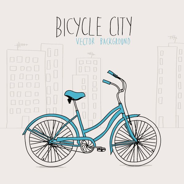 Bicycle City Vector Graphic
