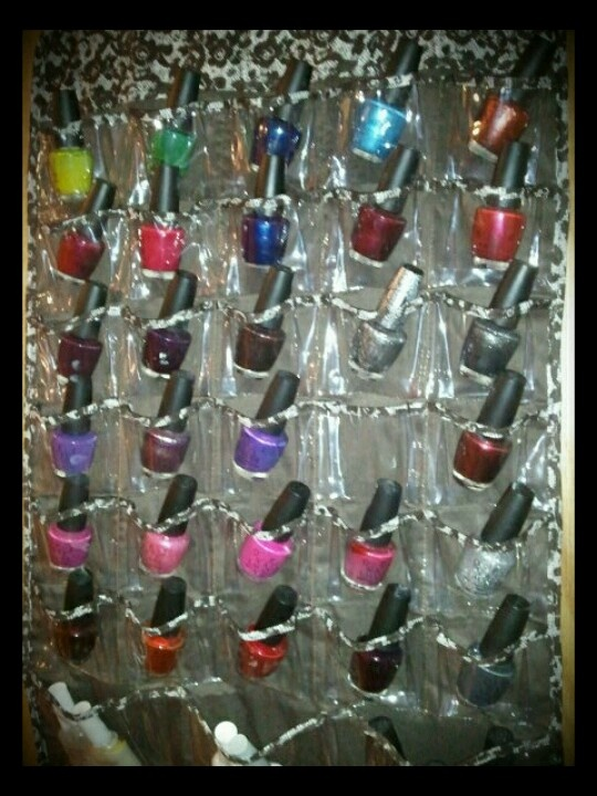 Nail Polish Organizer; Using A Hanging Jewelry Organizer. 2 Sided; 66  Pouches
