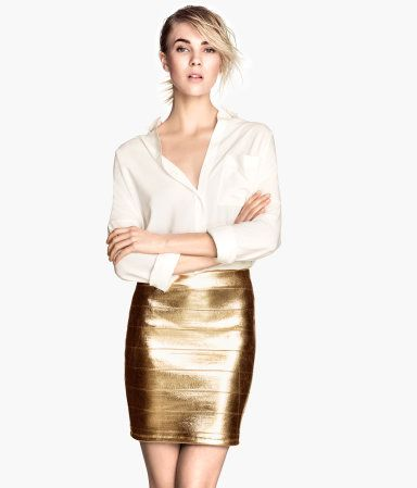 Product Detail | H&M NL gold metallic skirt