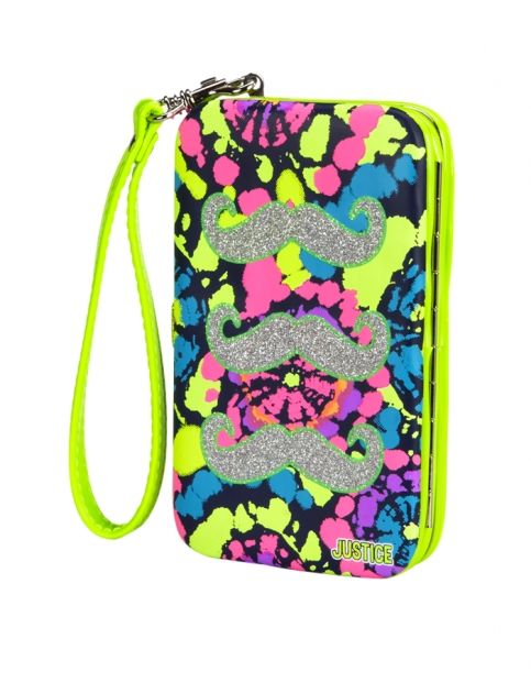 Fun mustache tech wristlet from Justice. 20 Tween Girl Gifts For Under $20 - Blonde Mom Blog