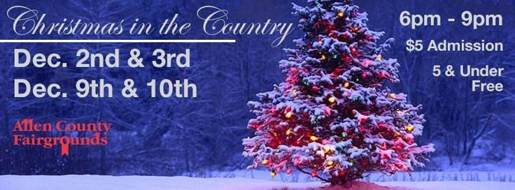 Christmas in the Country December 2 and 3rd, 2016 December 9 and 10th, 2016 - Chili Supper, Sandwiches, Hot Dogs, Desserts & Beverages - Visit with Santa (bring your camera or buy a picture for a nominal fee) Photos provided by Randy Williams Photography - Live Animals - Vote on your favorite Christmas Tree - Horse drawn wagon rides (weather permitting) - View all the wonderful indoor lighting displays - Silent Auction - Christmas tree decorating contest (decorated trees to be donated to ...