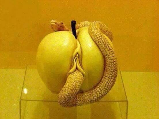 Snake, Apple, & a Vagina: Biblical fall of man. Honestly, I just find this sculpture beautiful.