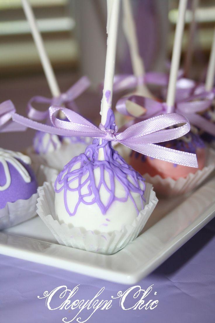 purple cake pops for loving lavender baby shower