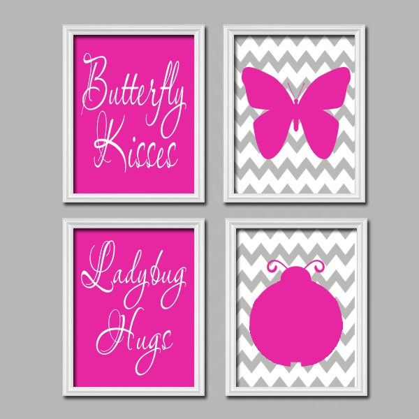 Cute Butterfly Kisses Ladybug Hugs Quote Crib Nursery By