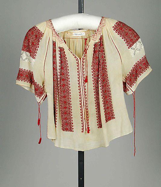 Blouse Date: ca. 1920 Culture: Romanian Medium: Cotton, silk, metallic
