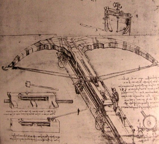 "Leonardo Da Vinci. ""Giant Crossbow"" Invention Drawing."