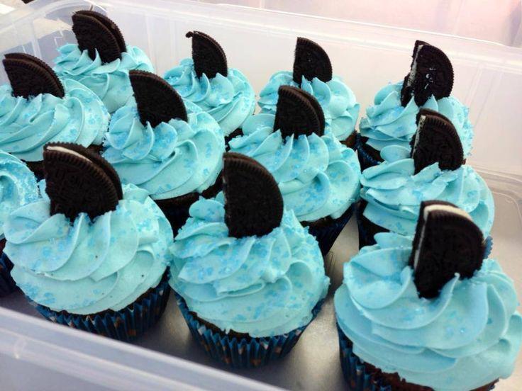 Shark Week - cupcakes by The Queen's Cups in Millbury
