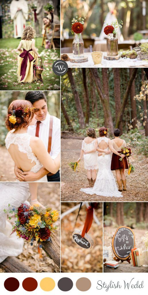 burgundy and yellow rustic fall wedding ideas - something to think about bc of the whole dandelions for gpa!
