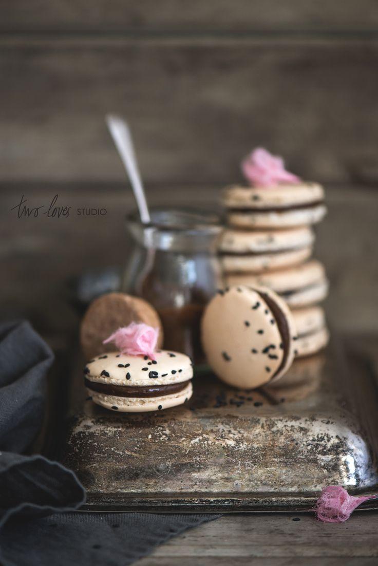 Liquorice Macaron with Persian Fairy FlossRoses | Two Loves Studio