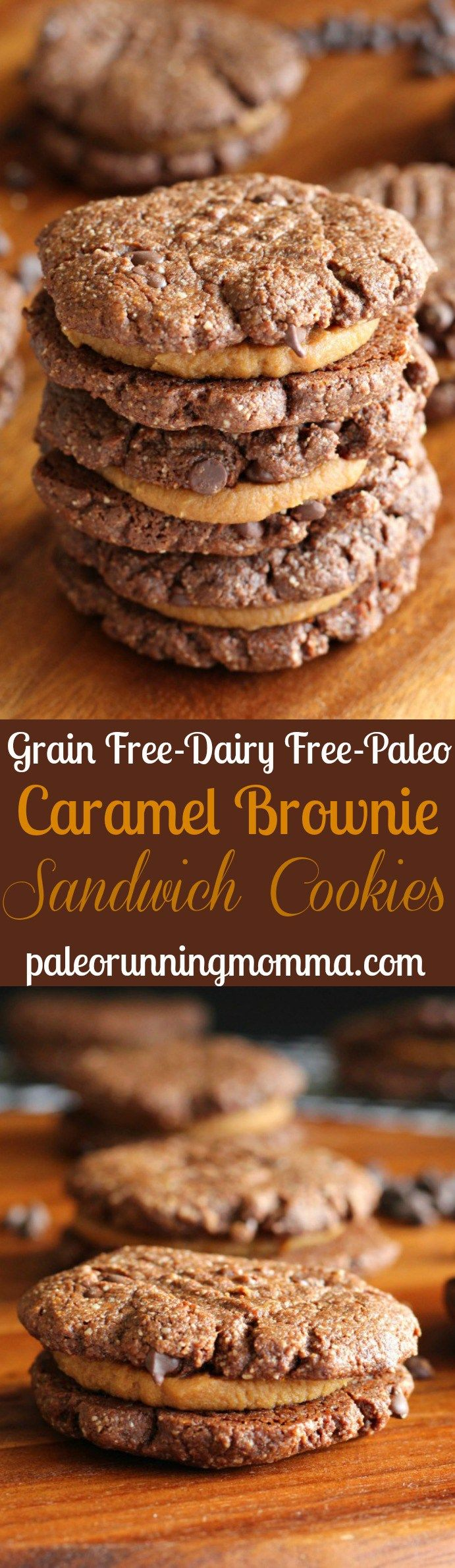 Chewy Caramel Brownie Sandwich Cookies - grain free, paleo, dairyfree, gluten free. Made with almond butter and almond flour; filling has coconut milk, coconut oil, sugar, and almond butter.
