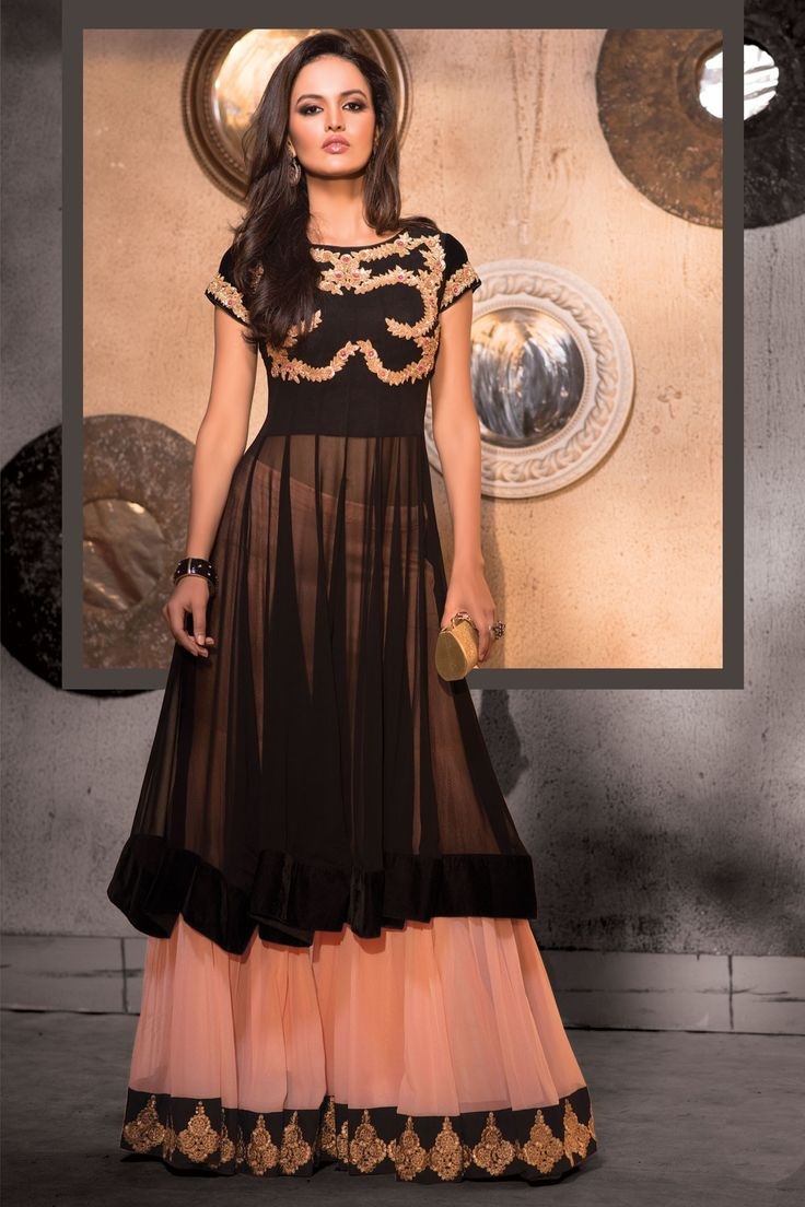 Black choli with baby pink georgette flared lehenga