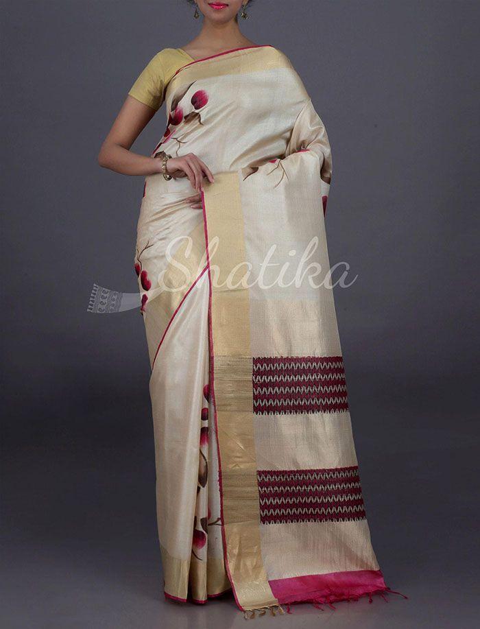 Suhaan Pristine Bloom With Stripy Pallu Pure #KosaSilkSaree