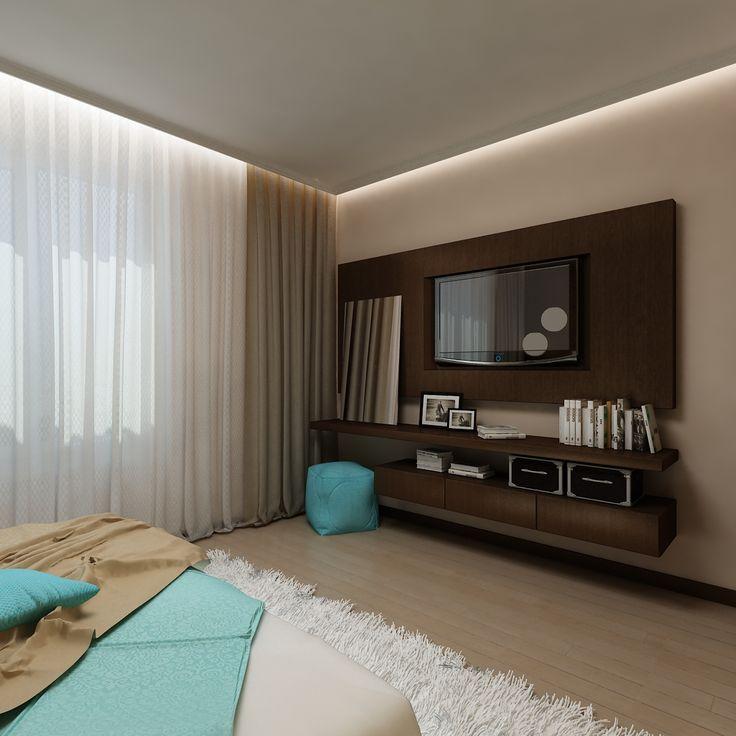В спальне организована современная и функциональная зона для телевизора. Автор интерьера: дизайнера Татьяна Зайцева.