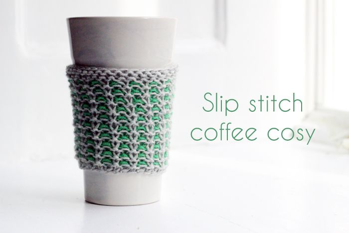Slip Stitch Coffee Cozy. (free pattern)