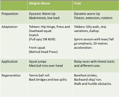 session planner for a resistance training session.