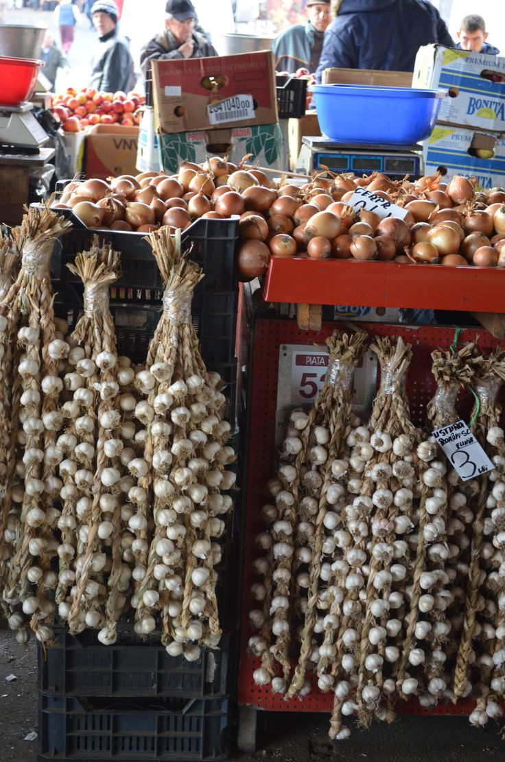 Onions and garlic at a local market in Bucharest
